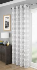 WHITE METALLIC GLIMMER SILVER STRIPED EYELET LUXURY VOILE PANEL CURTAIN